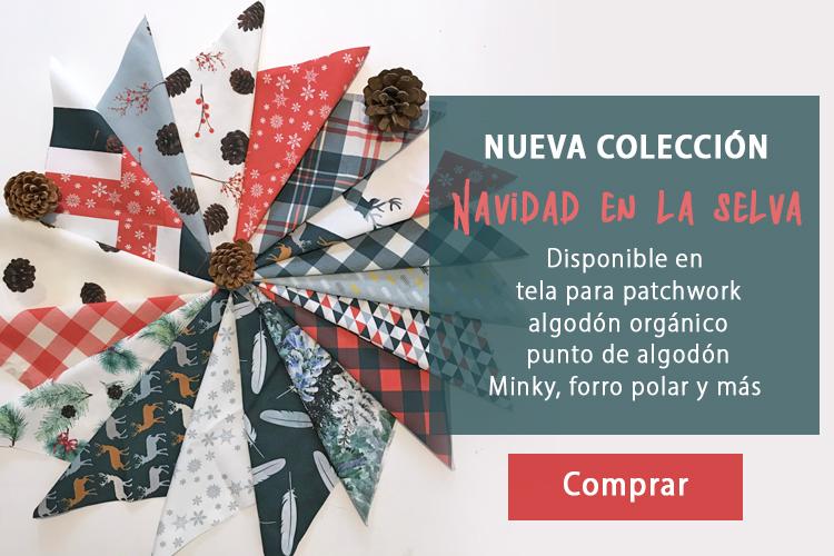 colección telas navideñas para patchwork y confección Navidad en la Selva de Fibra Creativa