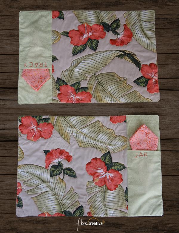 individuales de patchwork floral para una pareja personalizados con nombres