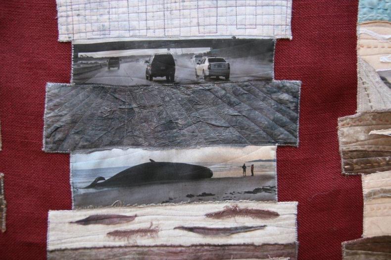 Impresión sobre tela de seda en art quilt
