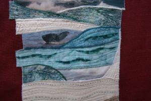 art quilt Mundos desconetcados balenas
