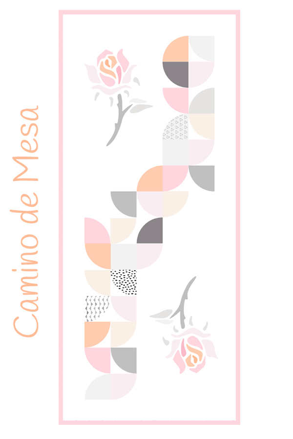 camino de mesa de patchwork con rosas y bloque sendero del borracho