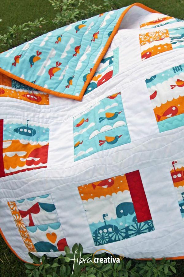 colcha de patchwork para bebé con ballenas