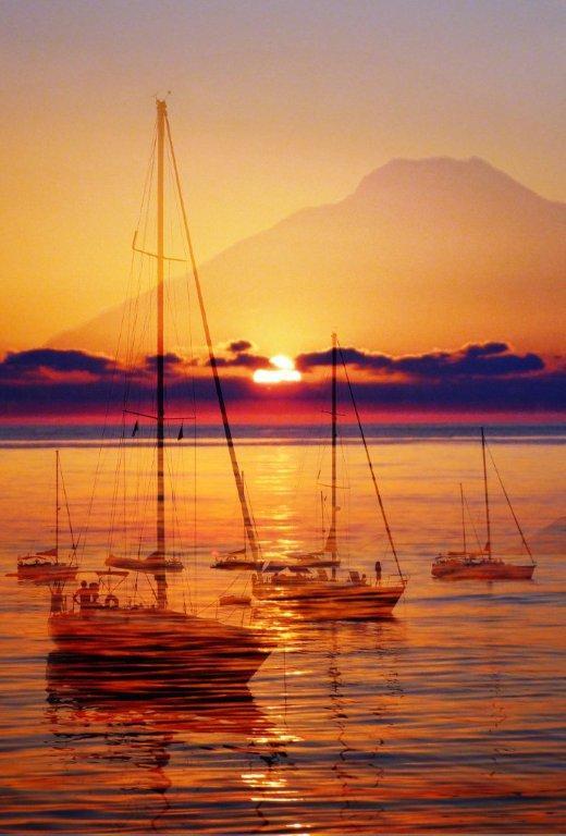 panel impreso sobretela puesta de sol con veleros en Stromboli