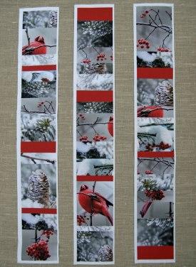 Panel de patchwork de navidad pájaro rojo invierno