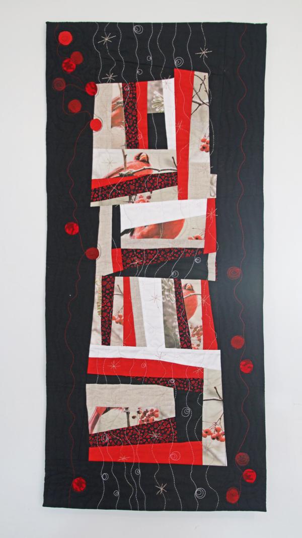 quilt de patcwhork improvisé oiseaux rouges