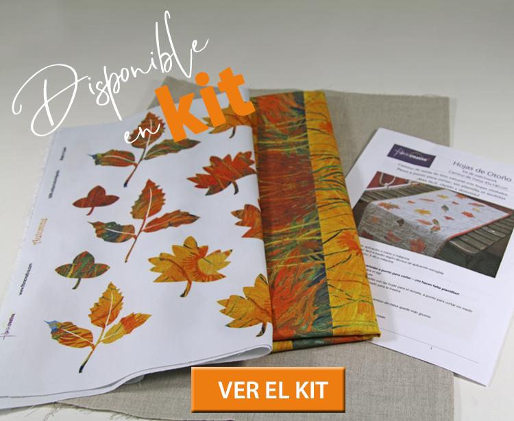 comprar kit de patchwork de otoño con hojas en lino natural