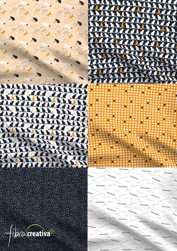 Telas para patchwork con gatos colección Playful cats de Fibra Craetiva