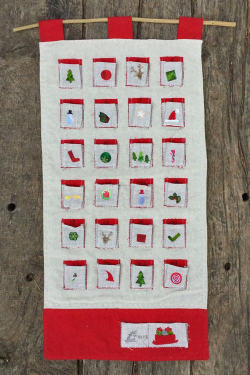 calendario de adviento de lino con bolsillos DIY