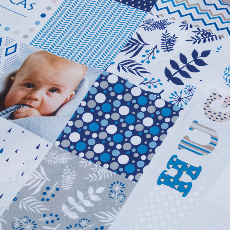 kit de patchwork para bebé personalizado con foto y nombre del bebé, en azul