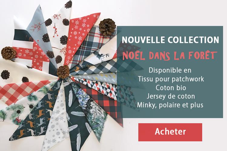 collection tissus Noël dans la forêt pour patchwork et couture coton bio polaire Minky par Fibra Creativa