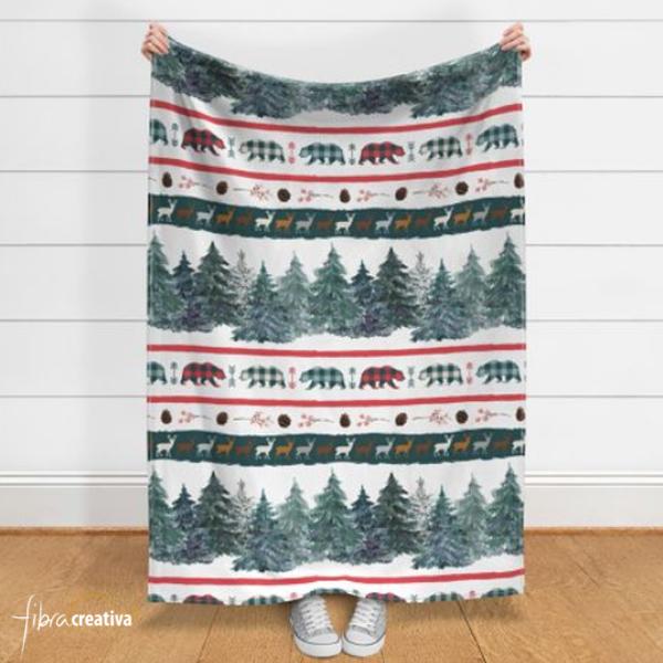 Couverture polaire imprimée Noël avec sapins, ours, cerfs, plaid cadeau de Noël de Fibra Creativa