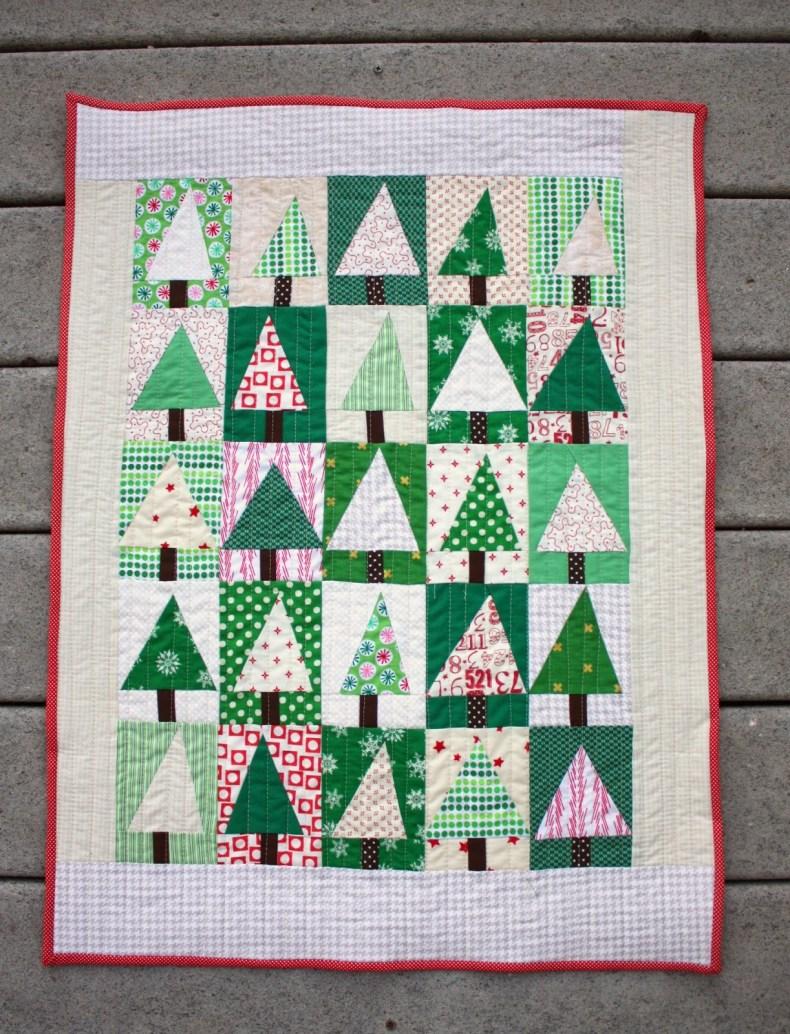 Tutorial quilt de patchwork de Navidad con abetos