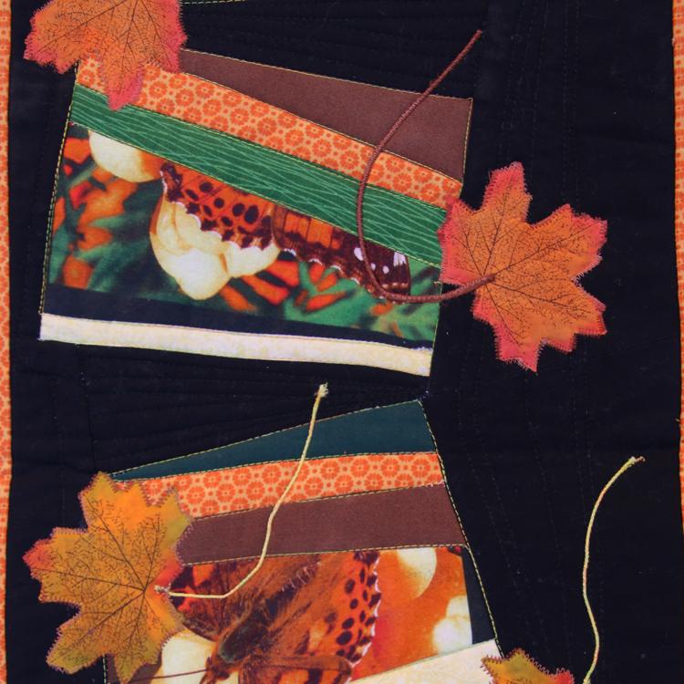 patchwork con pieceo improvisado y aplicación de hojas