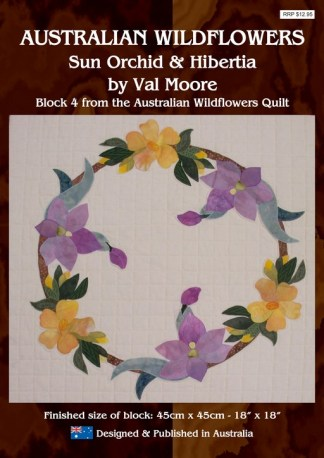 Australian Wildflowers Pattern 4: Sun-Orchid and Hibertia (by Val Moore)