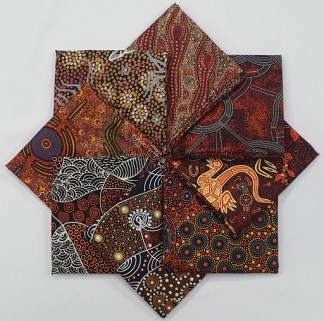 Aboriginal Art Fat Quarter Bundle - Brown