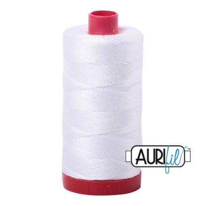 Aurifil 12wt Cotton Mako' 325m Spool - 2024 - White