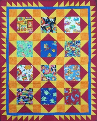 Kids in the Sun Cot Quilt - Finished Sample