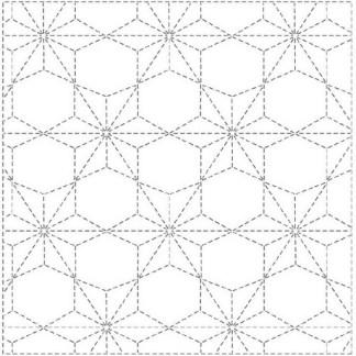 Sashiko Panel Hemp Leaf (Asanoha) with Hexagons Sashiko Sampler INS4
