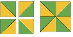Patchwork de Cuadros con Triángulos