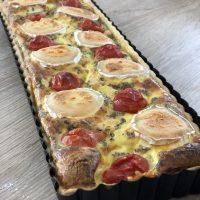 Du soleil dans l'assiette : Quiche à la courgette, tomates cerises et chèvre