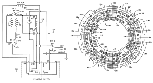 Patent US6255755  Single phase three speed motor with