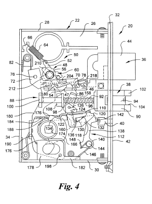 Patent US6578888  Mortise lock with automatic deadbolt