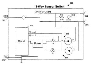 Patent US7791282  Motion sensor switch for 3way light