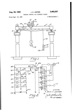 Patent US3463327  Pendant control for overhead cranes  Google Patents
