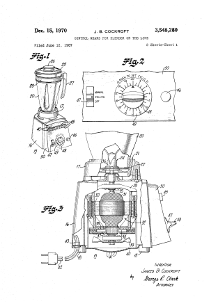 Patent US3548280  Control means for blender or the like  Google Patents