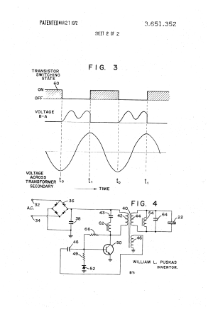 Patent US3651352  Oscillatory circuit for ultrasonic