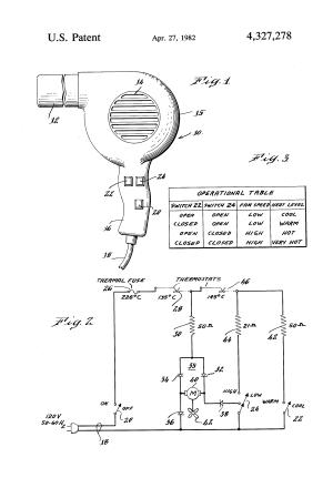 Patent US4327278  Simplified multiple speed hair dryer