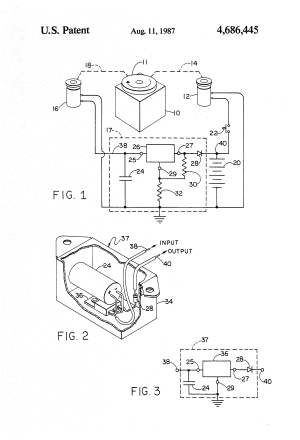 Patent US4686445  Voltage regulator for lawn mower engine