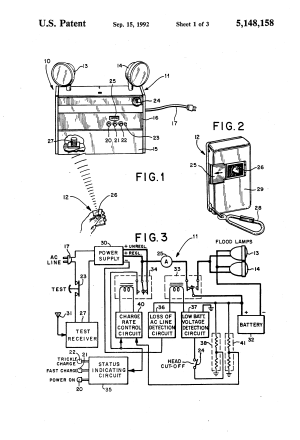 Patent US5148158  Emergency lighting unit having remote