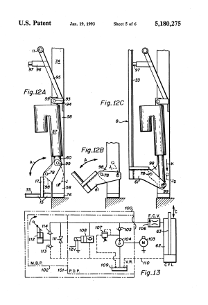 Patent US5180275  Rotary bus lift with power stowable platform  Google Patents