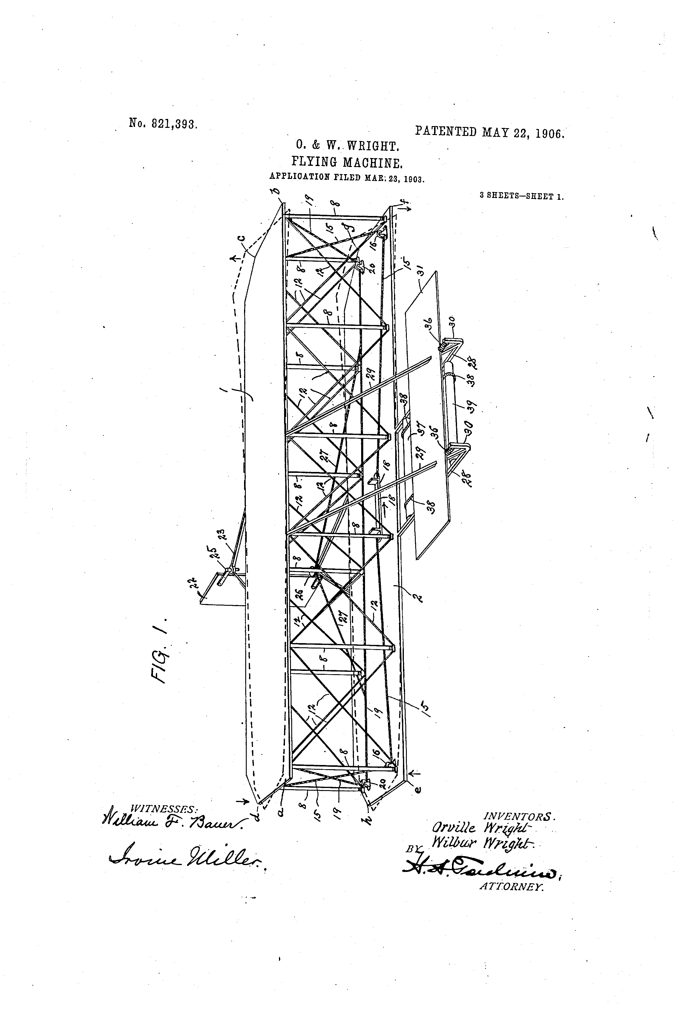 Drawing 1 from patent granted to Orville Wright for a flying machine