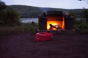 Campfire overlooking North-South Lake at Twilight