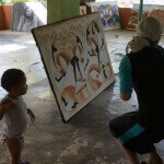 Art store in rural Peurta Plata - my wife plays catch with a local boy