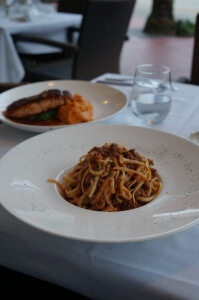 "$28 ""Linguine Beef"" (plain noodles and hamburger meat) at Kosh Restaurant."