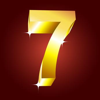 Number seven. Vector golden font
