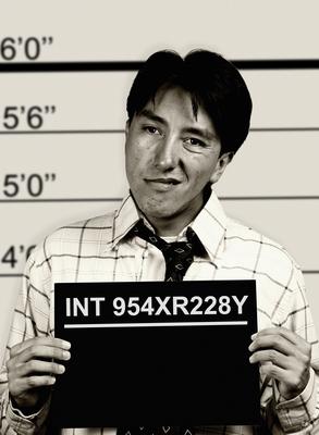 B & W mugshot of business man