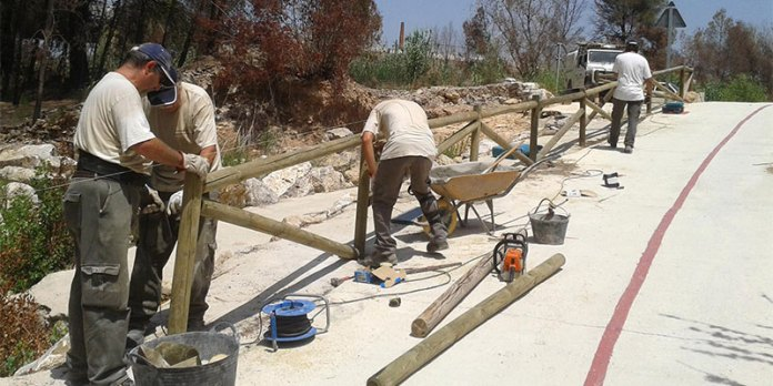 Operarios trabajando en las tareas de reposición en el Parque Fluvial del Turia