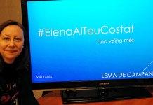 Elena Martínez junto al lema de campaña