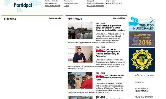 Captura de pantalla de la web municipal