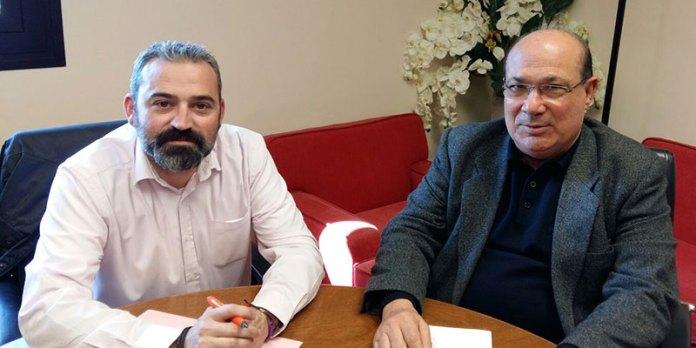 Mora y Estañán durante la reunión en la que trataron deficiencias en los colegios de Paterna