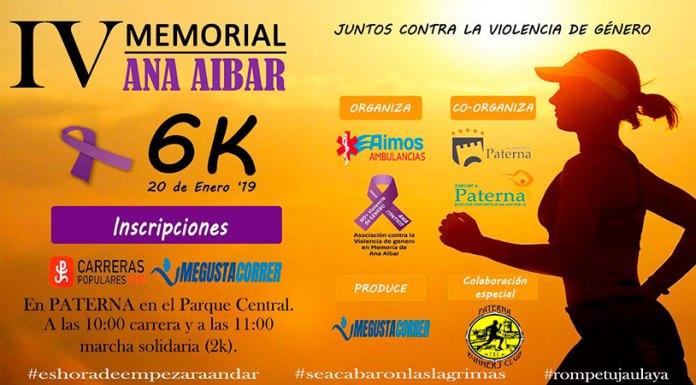 Carte promocional de la IV Carrera contra la Violencia de Género Ana Aibar