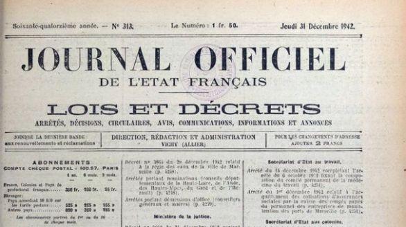Journal officiel de l'État français, nº 313, 31 décembre 1942, p. 4245