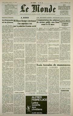 Le Monde, nº 7492, 13 février 1969, p. 1