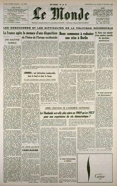 Le Monde, nº 7495, 16 février 1969, p. 1