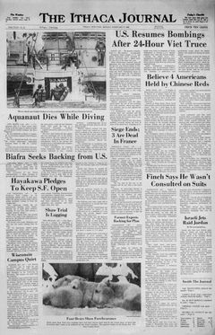 The Ithaca Journal, nº 40, 17 février 1969, p. 1