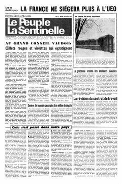 Le Peuple – La Sentinelle, nº 39, 18/02/1969, p. 1